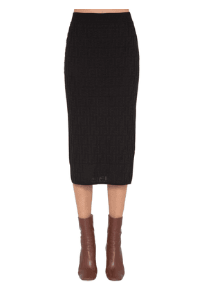 Logo Intarsia Knit Pencil Skirt
