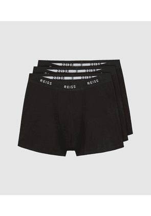 Reiss Heller - Three Pack Organic Cotton Boxers in Black, Mens, Size S