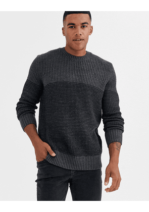 Only & Sons colour block knitted jumper in grey