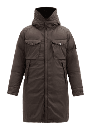 Stone Island - Hooded Wool-blend Down Fishtail Parka - Mens - Brown