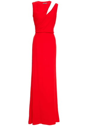 Alexander Mcqueen Cutout Draped Crepe Gown Woman Red Size 38