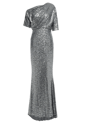 Badgley Mischka One-shoulder Draped Sequined Tulle Gown Woman Silver Size 10