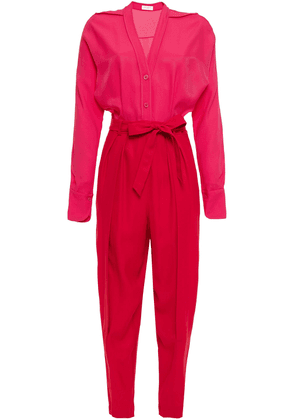 Equipment Two-tone Twill Jumpsuit Woman Red Size 12