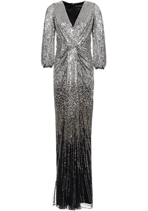 Jenny Packham Draped Embellished Tulle Gown Woman Silver Size 8