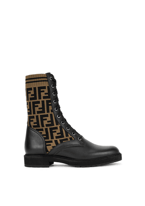 Fendi Rockoko FF-intarsia Leather Ankle Boots