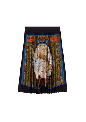 Burberry Map Print Silk-lined Pleated Skirt