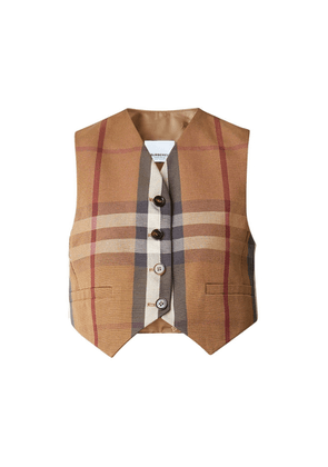 Burberry Check Technical Cotton Cropped Waistcoat