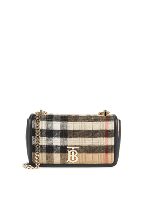 Burberry Lola Small Checked Cashmere And Leather Shoulder Bag