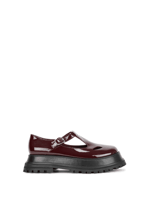 Burberry Aldwych Burgundy Patent Leather Mary Jane Shoes