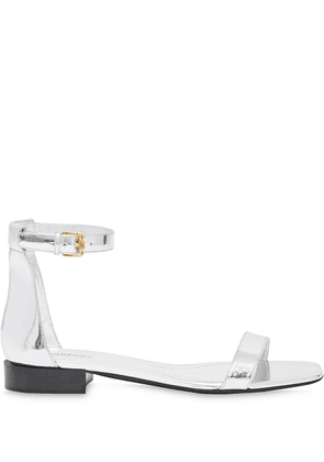 Burberry metallic calf leather sandals - SILVER