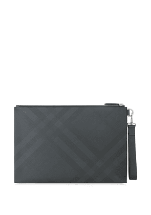 Burberry large London-check clutch - Grey