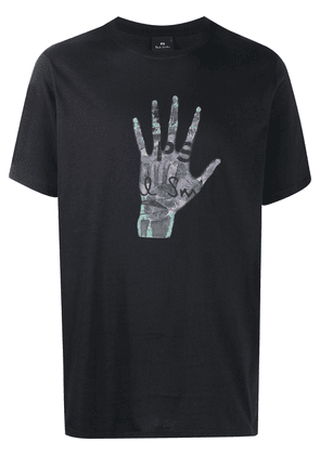 PS Paul Smith Skeleton Hand-print organic cotton T-shirt - Blue