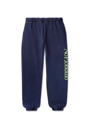 Aries - No Problemo Tapered Acid-Washed Fleece-Back Cotton-Jersey Sweatpants - Men - Blue