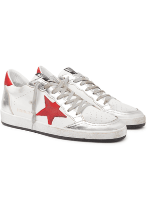 Golden Goose - Ball Star Distressed Leather Sneakers - Men - White