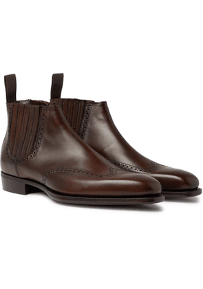Kingsman - George Cleverley Veronique Leather Brogue Chelsea Boots - Men - Brown