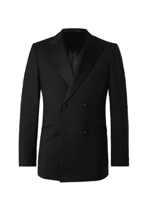 Kingsman - Slim-Fit Double-Breasted Grosgrain-Trimmed Wool and Mohair-Blend Tuxedo Jacket - Men - Black