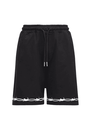 Embroidered Wire Logo Cotton Shorts