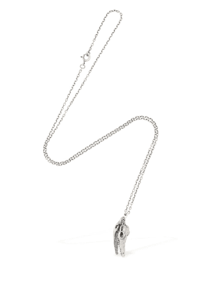 Croc Skull Silver Necklace