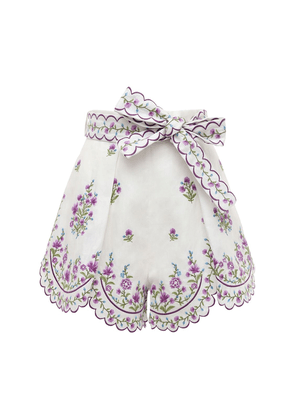 Poppy Floral Embroidered Linen Shorts