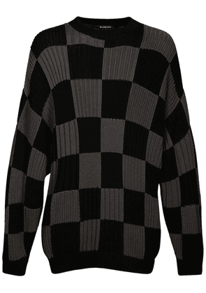 Checker Cotton Jacquard Knit Sweater