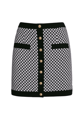 Buttoned Cotton Knit Gingham Mini Skirt
