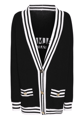 Wool Blend Knit Cardigan W/back Logo