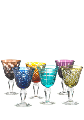 Set Of 6 Cutting Multicolor Wine Glasses