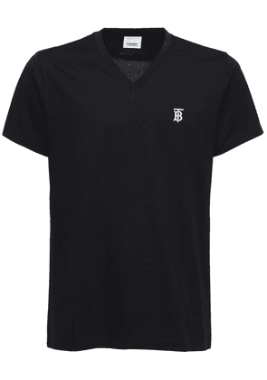 Tb Embroidery Cotton V Neck T-shirt