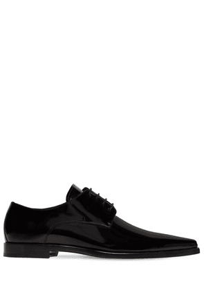 Pointy Patent Leather Derby Lace-up Shoe