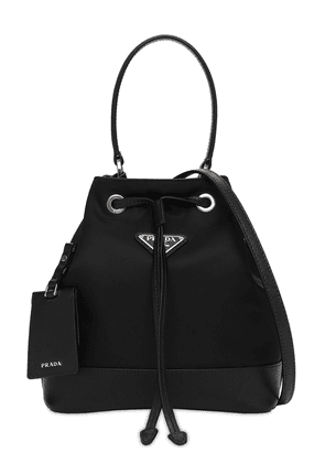 Nylon & Saffiano Leather Bucket Bag