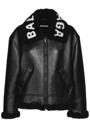 Logo Shiny Leather & Shearling Jacket