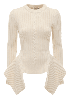 Wool Blend Knit Sweater W/ Peplum
