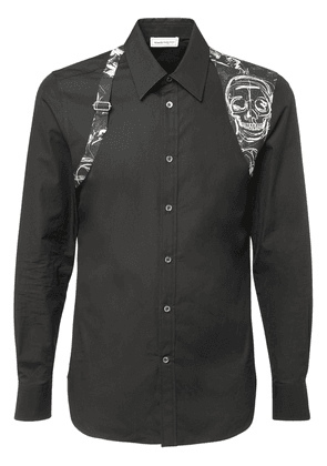 Harness Skull Print Cotton Poplin Shirt