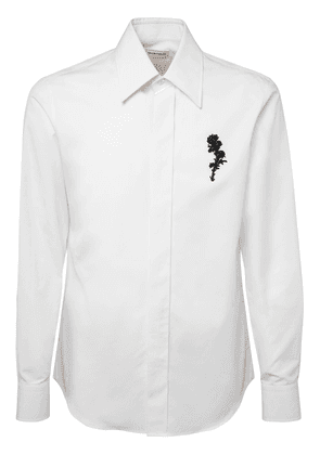 Floral Embroidery Cotton Poplin Shirt