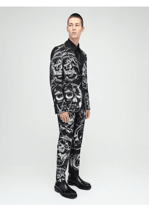 Skull Lurex Print Double Breasted Jacket