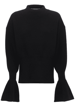 Wool Blend Knit Sweater W/flared Cuffs