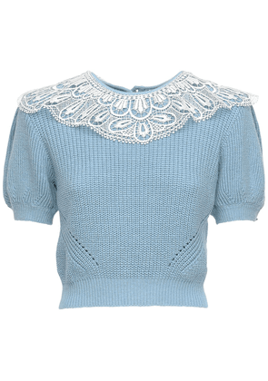 Wool Blend Sweater W/ Lace Collar