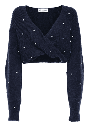 Twist Wool Blend Crop Sweater W/crystals