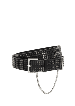 30mm Studded Leather Belt W/ Chain