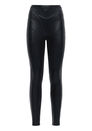 Embossed Shiny Stretch Jersey Leggings