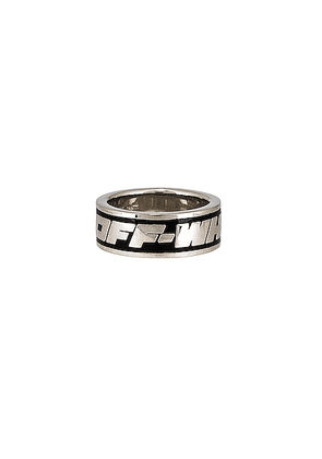 OFF-WHITE 2.0 Industrial Ring in Black - Metallic Silver. Size 62 (also in 60).