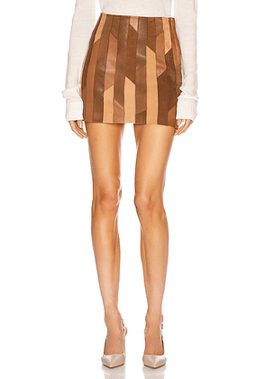 FRAME Patchwork Mini Skirt in Saddle Multi - Brown. Size 29 (also in ).
