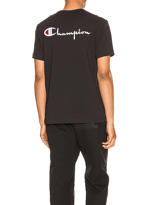 Champion Reverse Weave Crew Short Sleeve Tee in Black - Black. Size L (also in S).