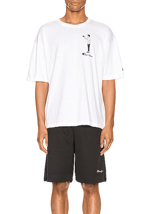 Champion Reverse Weave Omni Crew Short Sleeve Tee in White - White. Size M (also in ).