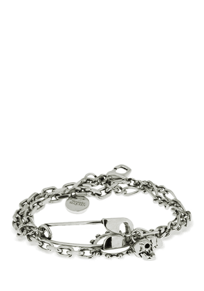 Safety Pin & Charms Chain Bracelet