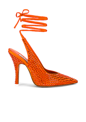 ATTICO Satin High Heel Slingback in Orange - Orange. Size 38 (also in 36, 39).