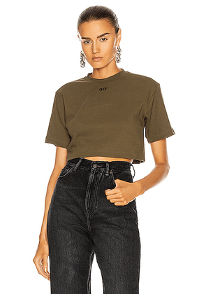 OFF-WHITE Rib Cropped Casual Tee in Military & White - Green. Size L (also in XS).