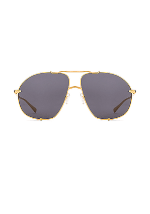 ATTICO Mina Aviator Sunglasses in Yellow Gold & Grey - Gray. Size all.