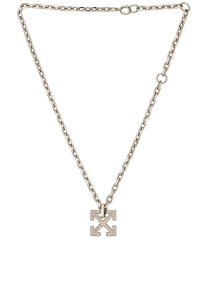 OFF-WHITE Textured Arrow Necklace in Metal - Metallic Silver. Size all.