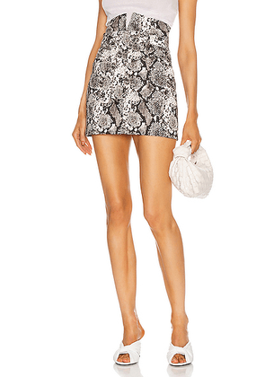 ATTICO Python Print Mini Skirt in Grey - Gray,Animal Print. Size 36 (also in 40, 42).